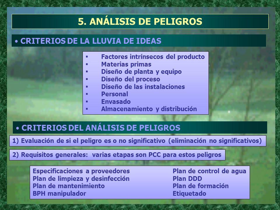 5. ANÁLISIS DE PELIGROS CRITERIOS DE LA LLUVIA DE IDEAS Factores intrínsecos del producto Materias primas Diseño de planta y equipo Diseño del proceso