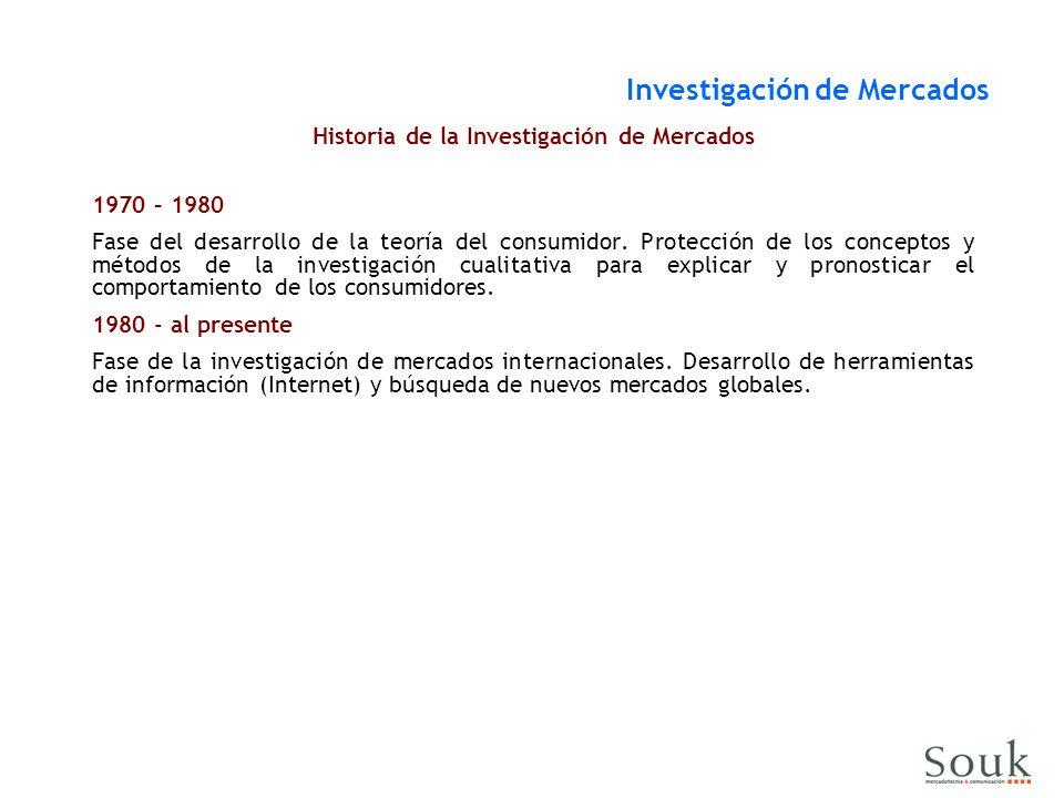 Historia de la Investigación de Mercados 1970 – 1980 Fase del desarrollo de la teoría del consumidor.