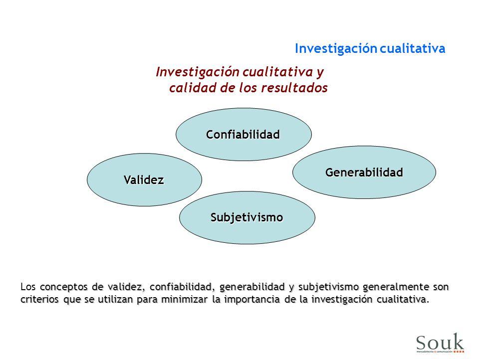 Validez Confiabilidad Generabilidad Investigación cualitativa y calidad de los resultados conceptos de validez, confiabilidad, generabilidad y subjetivismo generalmente son criterios que se utilizan para minimizar la importancia de la investigación cualitativa Los conceptos de validez, confiabilidad, generabilidad y subjetivismo generalmente son criterios que se utilizan para minimizar la importancia de la investigación cualitativa.