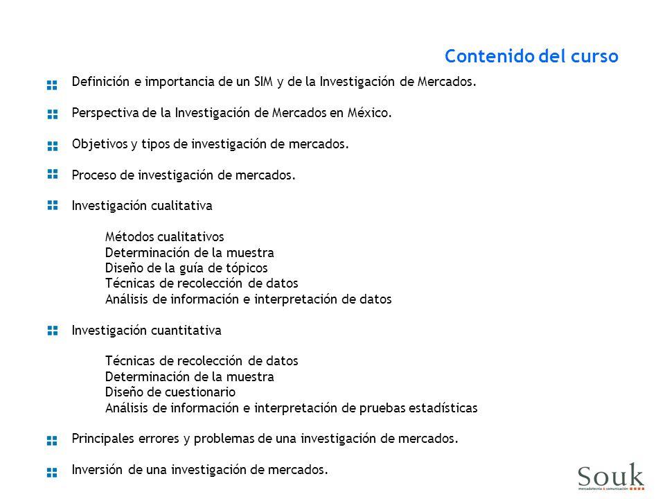 Definición e importancia de un SIM y de la Investigación de Mercados. Perspectiva de la Investigación de Mercados en México. Objetivos y tipos de inve