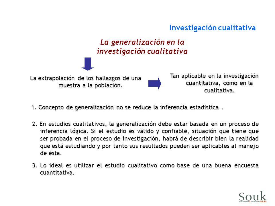 Investigación cualitativa La generalización en la investigación cualitativa 1. Concepto de generalización no se reduce la inferencia estadística. 2. E