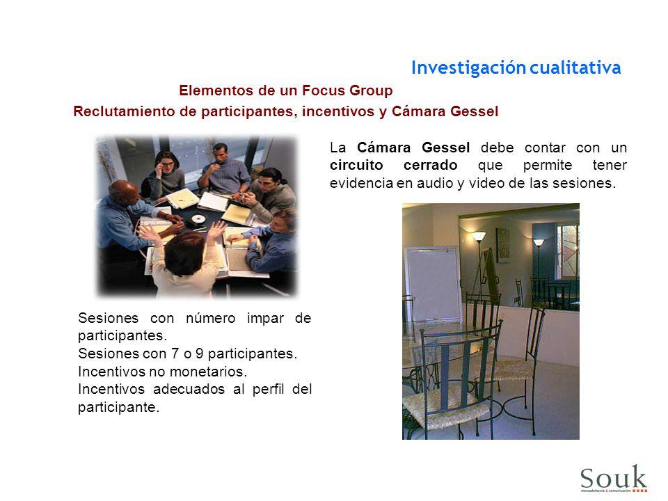 Elementos de un Focus Group Reclutamiento de participantes, incentivos y Cámara Gessel Sesiones con número impar de participantes. Sesiones con 7 o 9