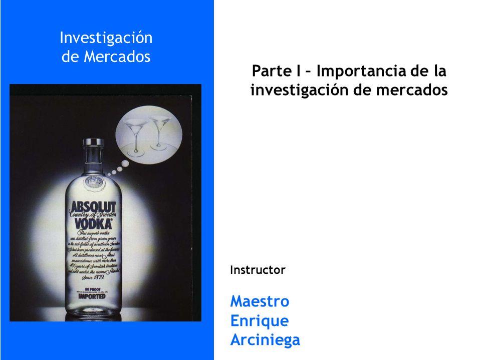 Parte I – Importancia de la investigación de mercados Instructor Maestro Enrique Arciniega Investigación de Mercados