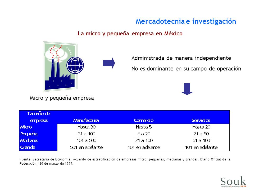 La micro y pequeña empresa en México Mercadotecnia e investigación Administrada de manera independiente Fuente: Secretaría de Economía. Acuerdo de est