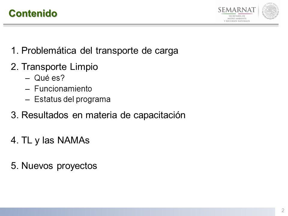 Contenido 1. Problemática del transporte de carga 2. Transporte Limpio –Qué es? –Funcionamiento –Estatus del programa 3. Resultados en materia de capa