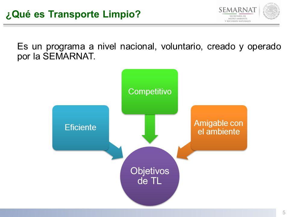 ¿Qué es Transporte Limpio? Es un programa a nivel nacional, voluntario, creado y operado por la SEMARNAT. Objetivos de TL EficienteCompetitivo Amigabl