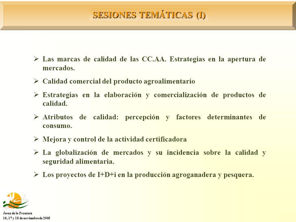 SESIONES TEMÁTICAS (I) Jerez de la Frontera 16, 17 y 18 de noviembre de 2005 Las marcas de calidad de las CC.AA.