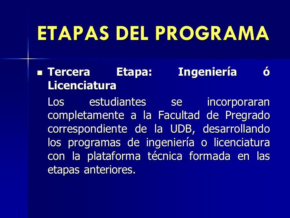 ETAPAS DEL PROGRAMA Tercera Etapa: Ingeniería ó Licenciatura Tercera Etapa: Ingeniería ó Licenciatura Los estudiantes se incorporaran completamente a