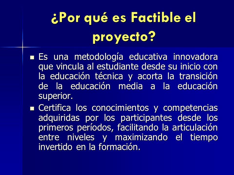 ¿Por qué es Factible el proyecto? Es una metodología educativa innovadora que vincula al estudiante desde su inicio con la educación técnica y acorta