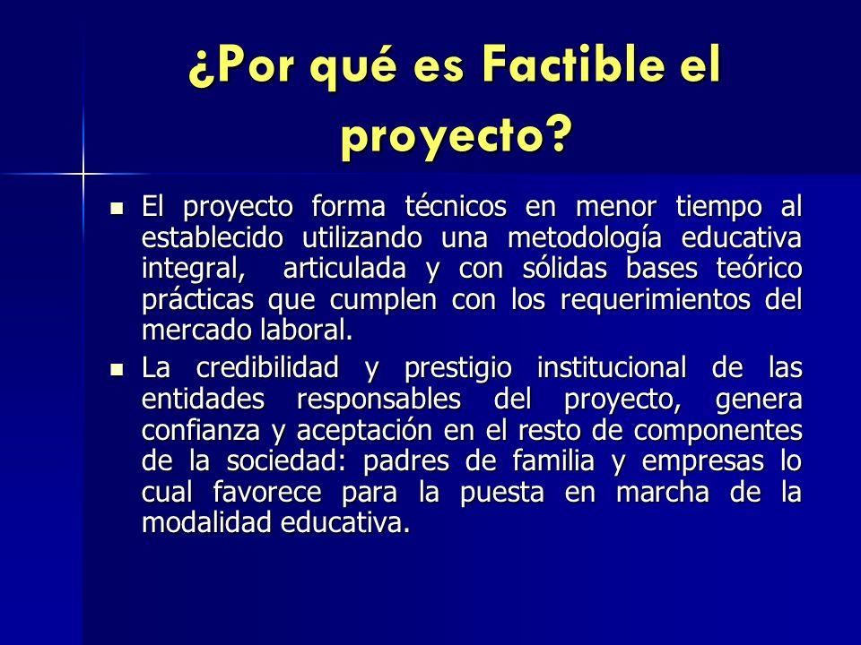 ¿Por qué es Factible el proyecto? El proyecto forma técnicos en menor tiempo al establecido utilizando una metodología educativa integral, articulada
