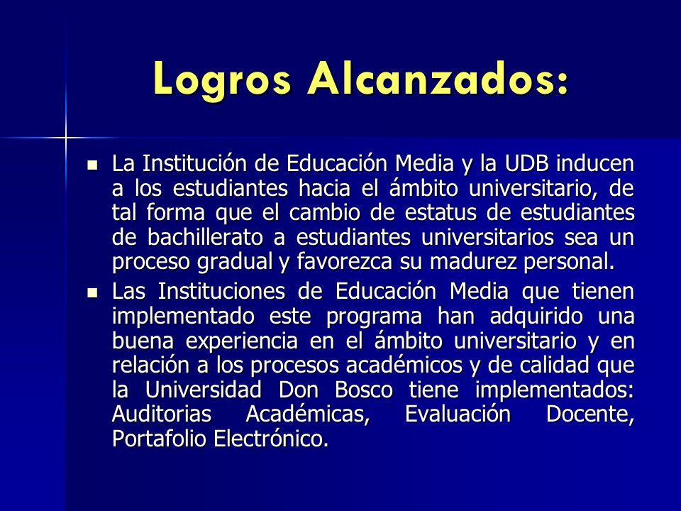 Logros Alcanzados: La Institución de Educación Media y la UDB inducen a los estudiantes hacia el ámbito universitario, de tal forma que el cambio de e