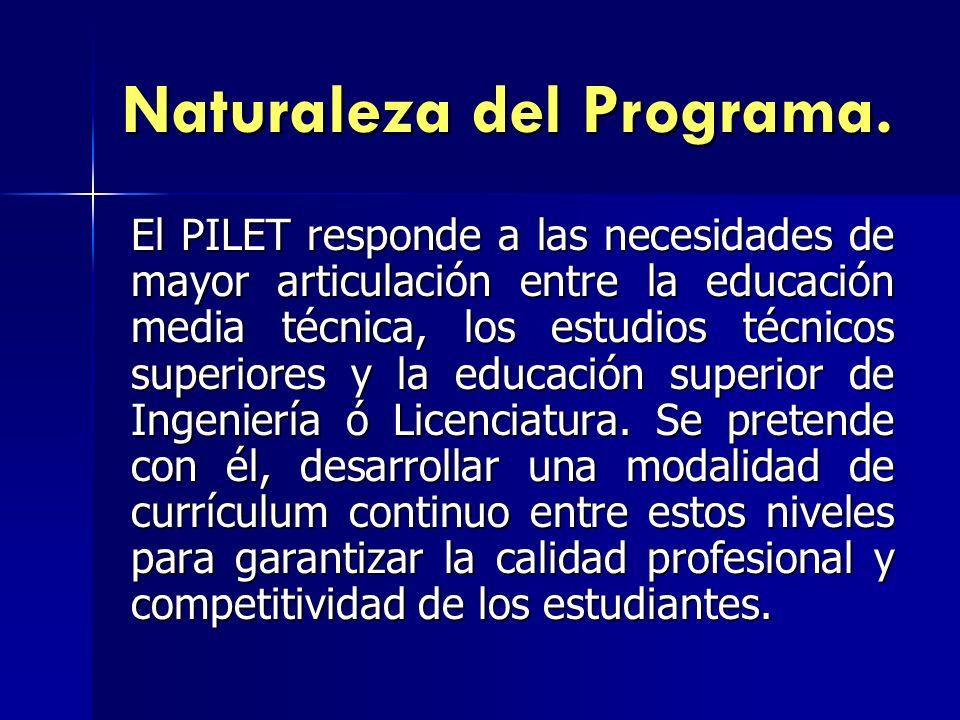 Naturaleza del Programa. El PILET responde a las necesidades de mayor articulación entre la educación media técnica, los estudios técnicos superiores