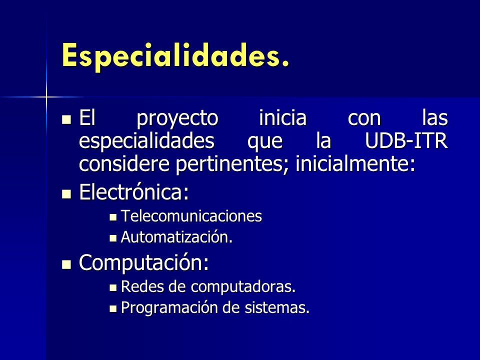 Especialidades. El proyecto inicia con las especialidades que la UDB-ITR considere pertinentes; inicialmente: El proyecto inicia con las especialidade