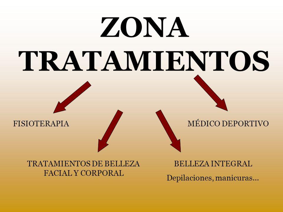 ZONA TRATAMIENTOS FISIOTERAPIA TRATAMIENTOS DE BELLEZA FACIAL Y CORPORAL MÉDICO DEPORTIVO BELLEZA INTEGRAL Depilaciones, manicuras…