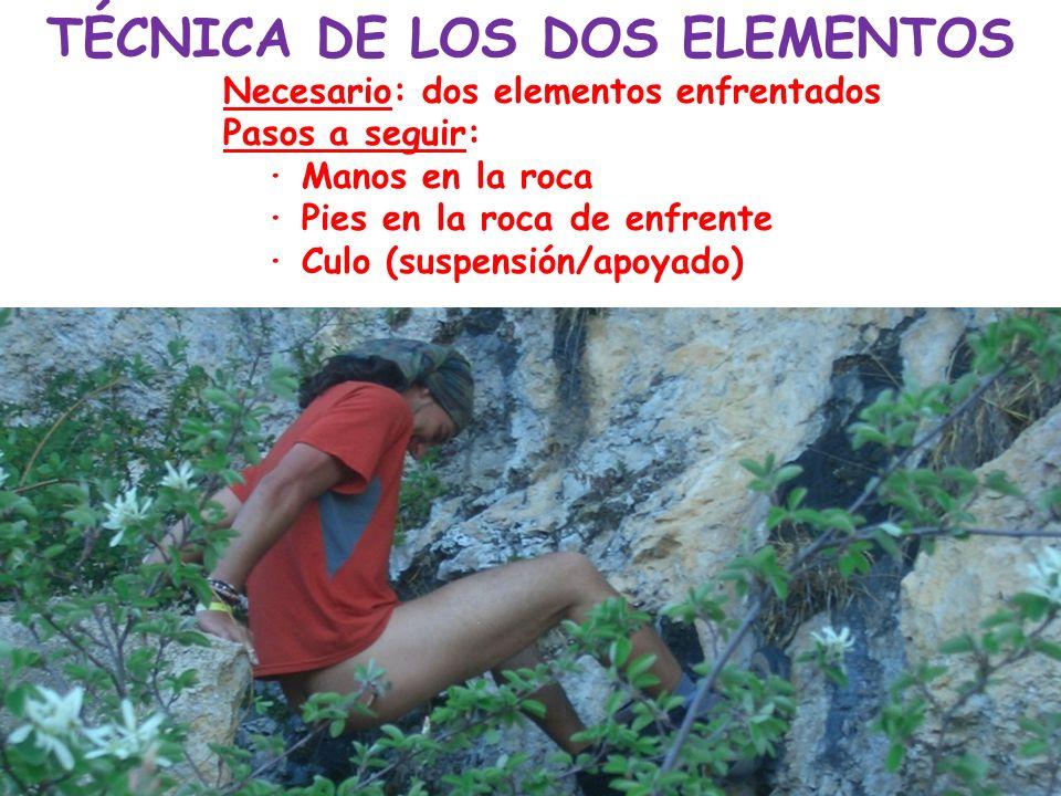 TÉCNICA DE LOS DOS ELEMENTOS Necesario: dos elementos enfrentados Pasos a seguir: · Manos en la roca · Pies en la roca de enfrente · Culo (suspensión/