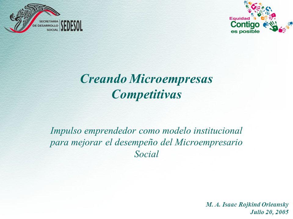 Creando Microempresas Competitivas Impulso emprendedor como modelo institucional para mejorar el desempeño del Microempresario Social M.