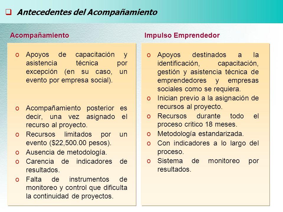 oApoyos de capacitación y asistencia técnica por excepción (en su caso, un evento por empresa social).