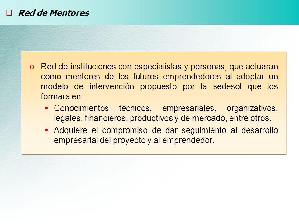 oRed de instituciones con especialistas y personas, que actuaran como mentores de los futuros emprendedores al adoptar un modelo de intervención propu
