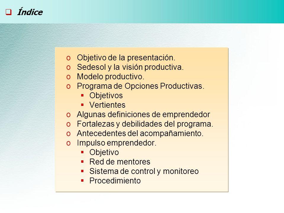 oObjetivo de la presentación. oSedesol y la visión productiva. oModelo productivo. oPrograma de Opciones Productivas. Objetivos Vertientes oAlgunas de