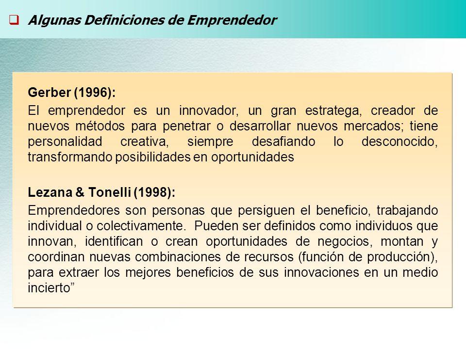 Gerber (1996): El emprendedor es un innovador, un gran estratega, creador de nuevos métodos para penetrar o desarrollar nuevos mercados; tiene personalidad creativa, siempre desafiando lo desconocido, transformando posibilidades en oportunidades Lezana & Tonelli (1998): Emprendedores son personas que persiguen el beneficio, trabajando individual o colectivamente.