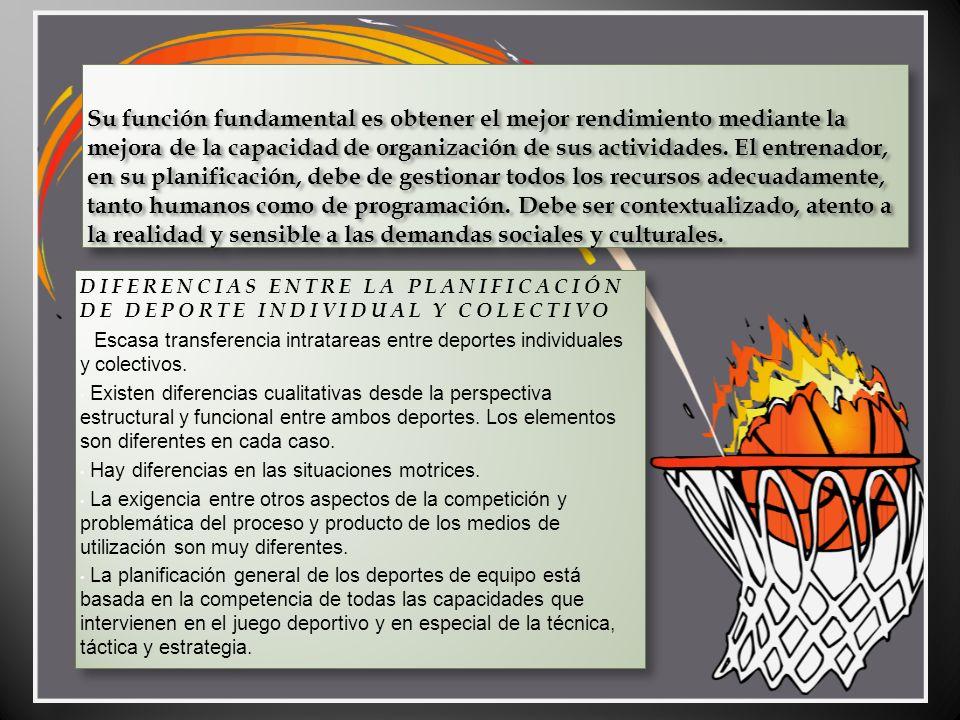 Su función fundamental es obtener el mejor rendimiento mediante la mejora de la capacidad de organización de sus actividades. El entrenador, en su pla