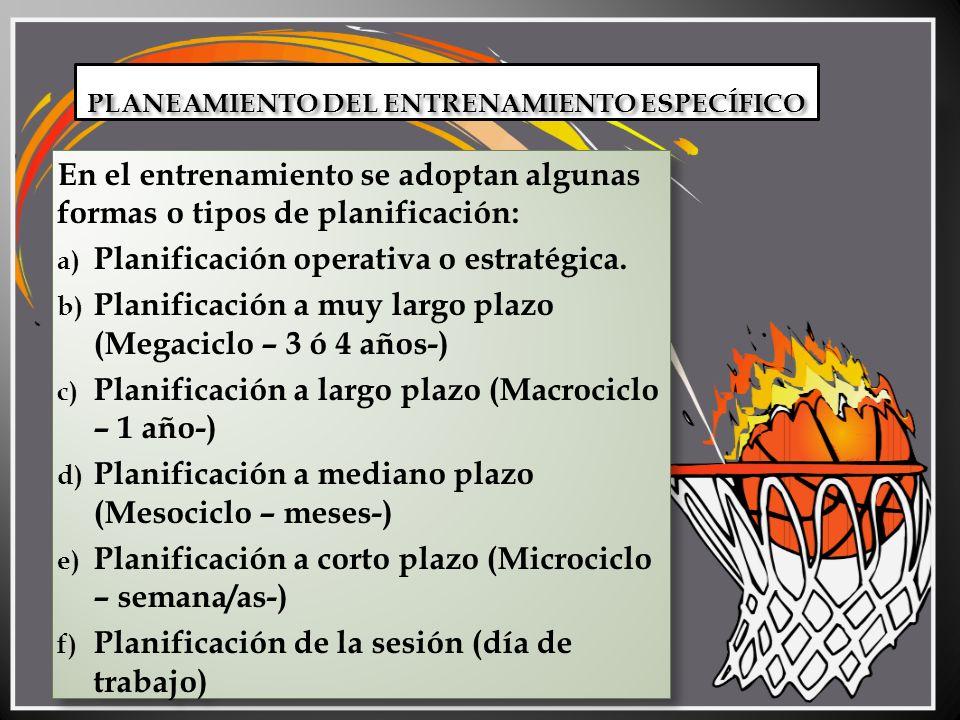 PLANIFICACIÓN A MUY LARGO PLAZO Generalmente se utiliza para categorías formativas o de iniciación.