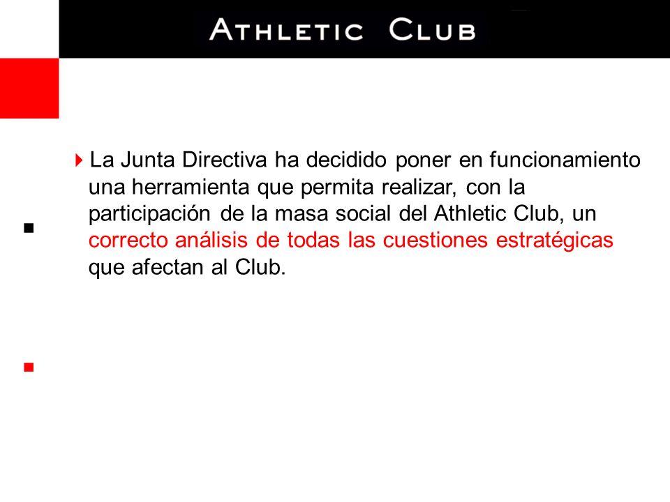 La Junta Directiva ha decidido poner en funcionamiento una herramienta que permita realizar, con la participación de la masa social del Athletic Club, un correcto análisis de todas las cuestiones estratégicas que afectan al Club.