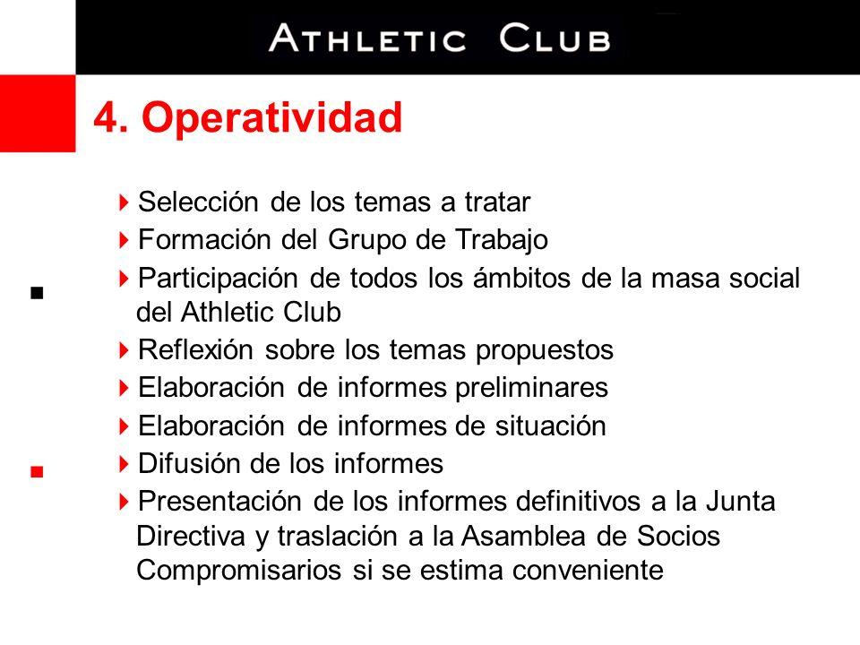 4. Operatividad Selección de los temas a tratar Formación del Grupo de Trabajo Participación de todos los ámbitos de la masa social del Athletic Club