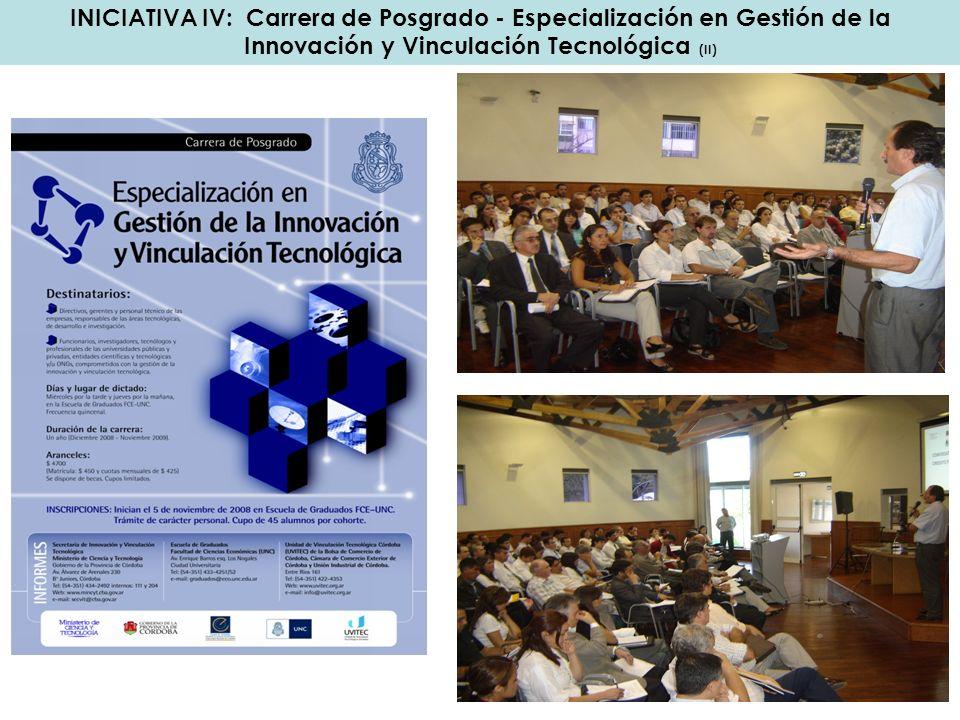 INICIATIVA IV: Carrera de Posgrado - Especialización en Gestión de la Innovación y Vinculación Tecnológica (II)