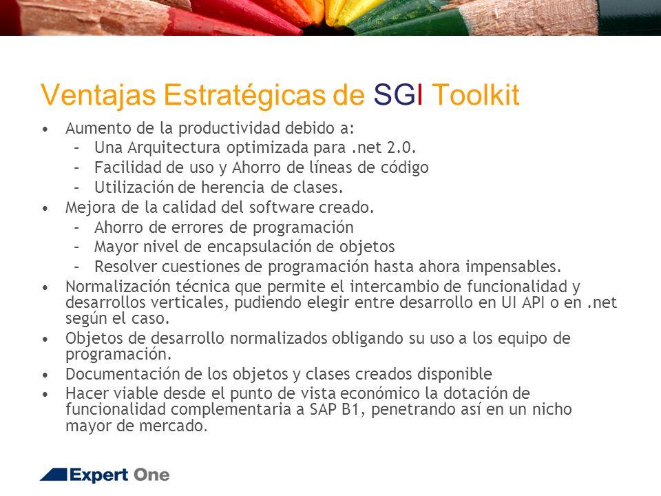 Ventajas Estratégicas de SGI Toolkit Aumento de la productividad debido a: –Una Arquitectura optimizada para.net 2.0.
