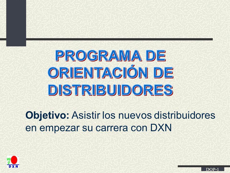 DOP-1 Objetivo: Asistir los nuevos distribuidores en empezar su carrera con DXN