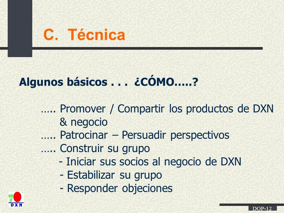 DOP-12 C. Técnica Algunos básicos... ¿CÓMO…..? ….. Promover / Compartir los productos de DXN & negocio ….. Patrocinar – Persuadir perspectivos ….. Con