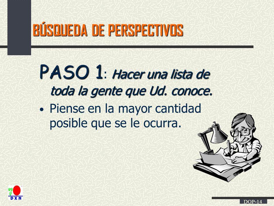 DOP-14 BÚSQUEDA DE PERSPECTIVOS PASO 1 Hacer una lista de toda la gente que Ud. conoce. PASO 1 : Hacer una lista de toda la gente que Ud. conoce. Pien