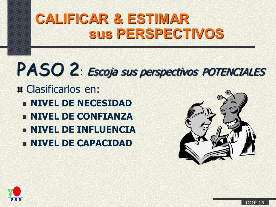 DOP-15 CALIFICAR & ESTIMAR sus PERSPECTIVOS sus PERSPECTIVOS PASO 2 Escoja sus perspectivos POTENCIALES PASO 2 : Escoja sus perspectivos POTENCIALES C