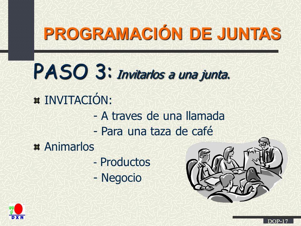 DOP-17 PROGRAMACIÓN DE JUNTAS PASO 3: Invitarlos a una junta. INVITACIÓN: - A traves de una llamada - Para una taza de café Animarlos - Productos - Ne