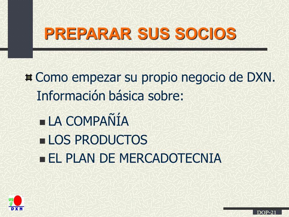 DOP-21 PREPARAR SUS SOCIOS Como empezar su propio negocio de DXN. Información básica sobre: LA COMPAÑÍA LOS PRODUCTOS EL PLAN DE MERCADOTECNIA