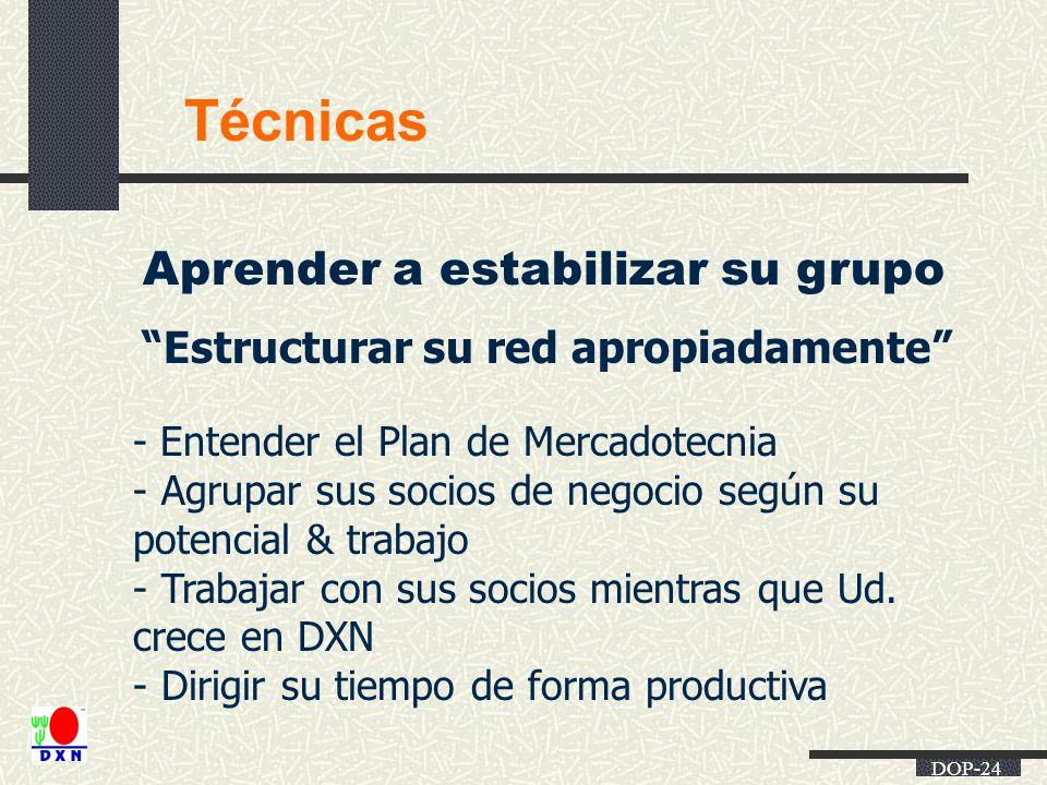 DOP-24 Técnicas Aprender a estabilizar su grupo Estructurar su red apropiadamente - Entender el Plan de Mercadotecnia - Agrupar sus socios de negocio