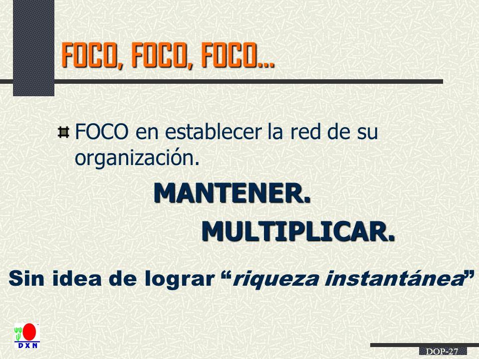 DOP-27 FOCO, FOCO, FOCO… FOCO en establecer la red de su organización.MANTENER.MULTIPLICAR. Sin idea de lograr riqueza instantánea