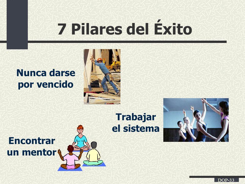 DOP-33 7 Pilares del Éxito Encontrar un mentor Trabajar el sistema Nunca darse por vencido
