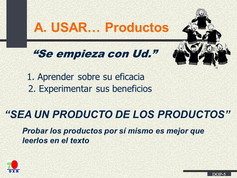 DOP-5 A. USAR… Productos Se empieza con Ud. SEA UN PRODUCTO DE LOS PRODUCTOS Probar los productos por sí mismo es mejor que leerlos en el texto 1. Apr