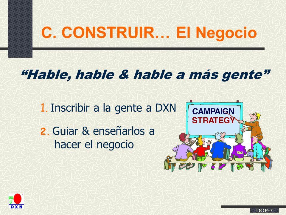 DOP-7 C. CONSTRUIR… El Negocio Hable, hable & hable a más gente 1. Inscribir a la gente a DXN 2. Guiar & enseñarlos a hacer el negocio