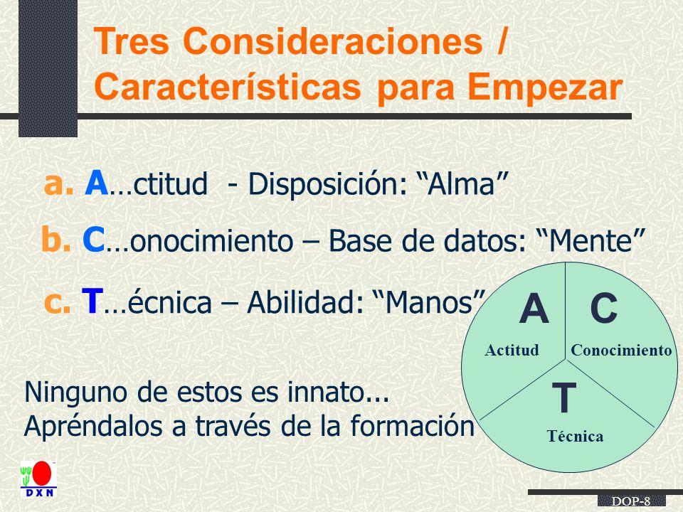 DOP-8 Tres Consideraciones / Características para Empezar b. C …onocimiento – Base de datos: Mente a. A …ctitud - Disposición: Alma c. T …écnica – Abi