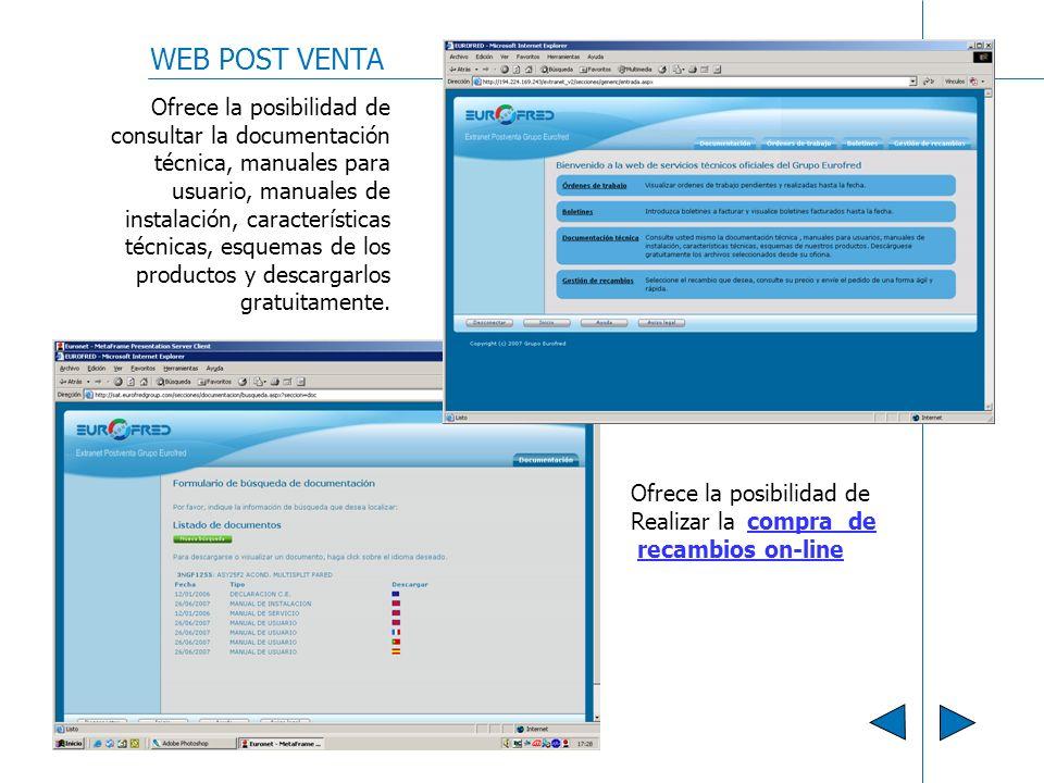 WEB POST VENTA Ofrece la posibilidad de consultar la documentación técnica, manuales para usuario, manuales de instalación, características técnicas,