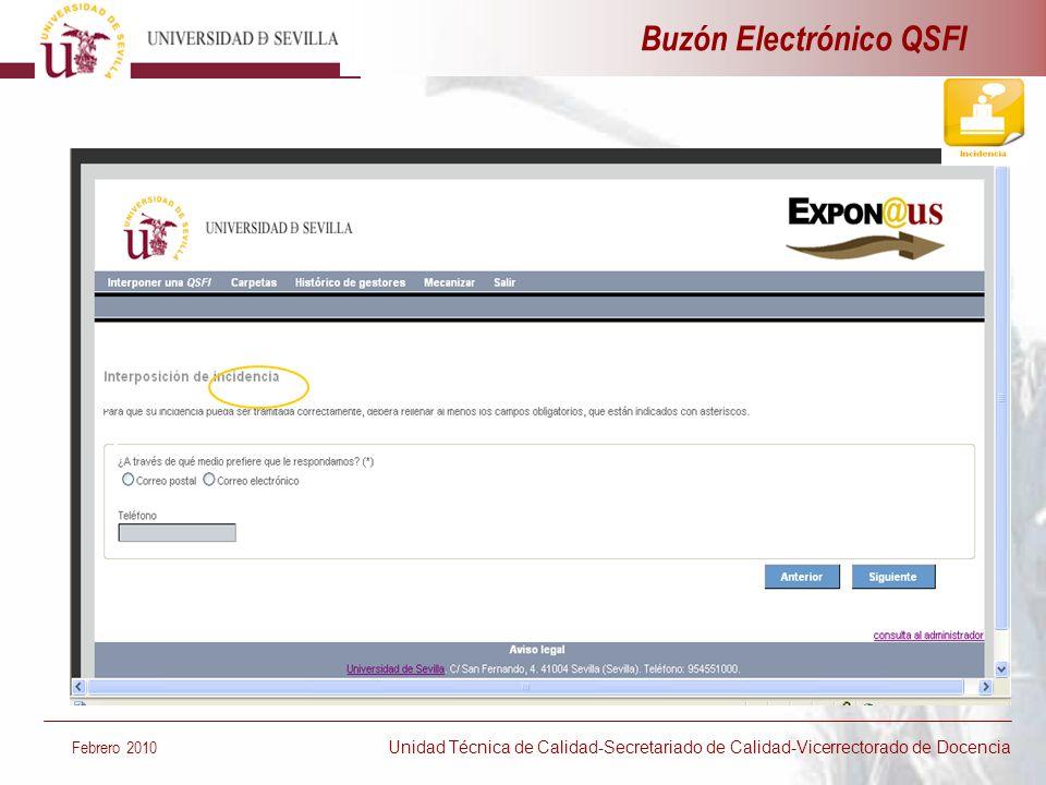 Buzón Electrónico QSFI Febrero 2010 Unidad Técnica de Calidad-Secretariado de Calidad-Vicerrectorado de Docencia