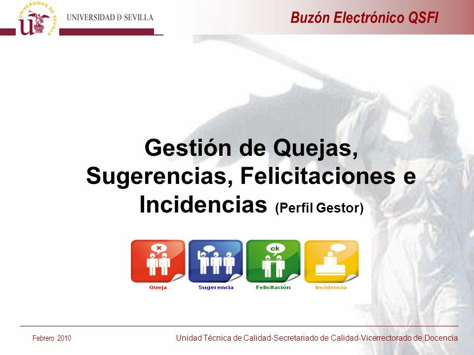 Gestión de Quejas, Sugerencias, Felicitaciones e Incidencias (Perfil Gestor) Buzón Electrónico QSFI Febrero 2010 Unidad Técnica de Calidad-Secretariad