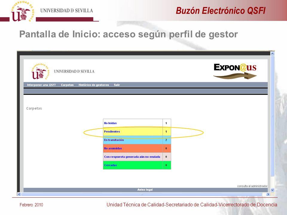 Buzón Electrónico QSFI Febrero 2010 Unidad Técnica de Calidad-Secretariado de Calidad-Vicerrectorado de Docencia Pantalla de Inicio: acceso según perf