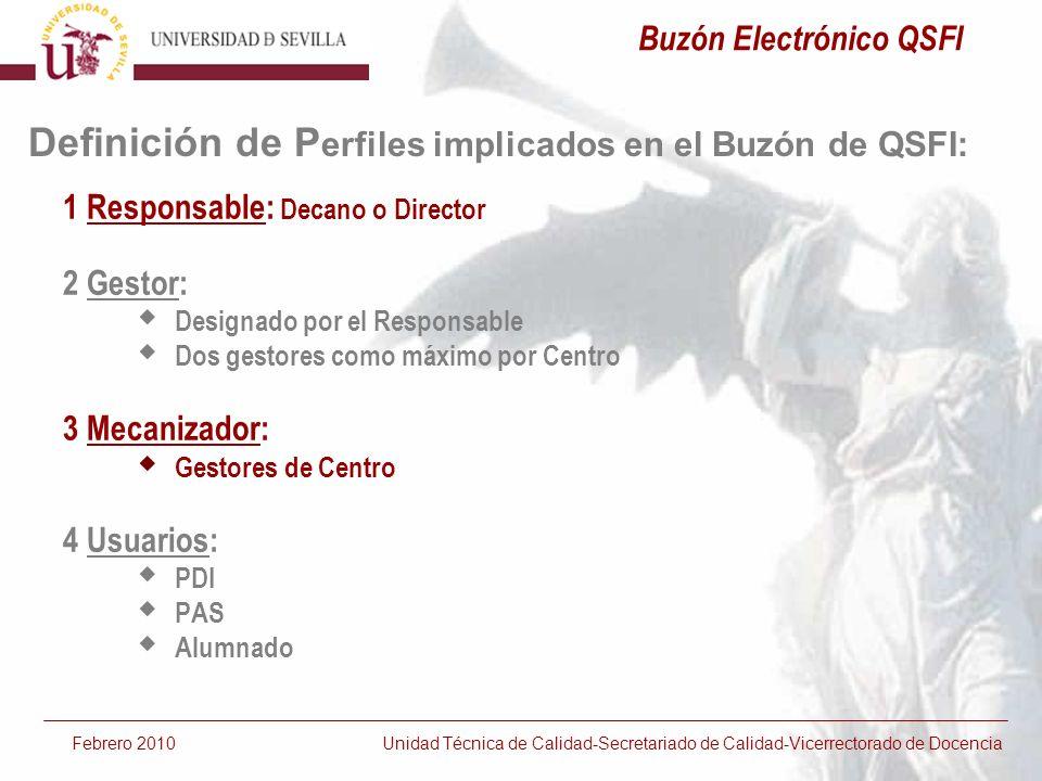 Respuesta generada Febrero 2010 Unidad Técnica de Calidad-Secretariado de Calidad-Vicerrectorado de Docencia Buzón Electrónico QSFI
