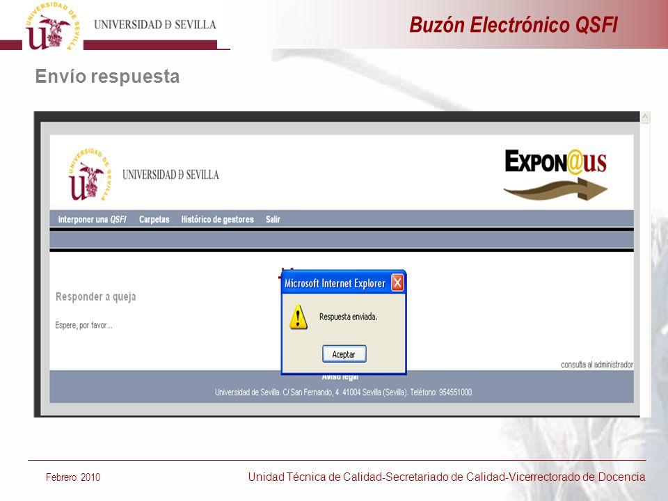 Envío respuesta Febrero 2010 Unidad Técnica de Calidad-Secretariado de Calidad-Vicerrectorado de Docencia