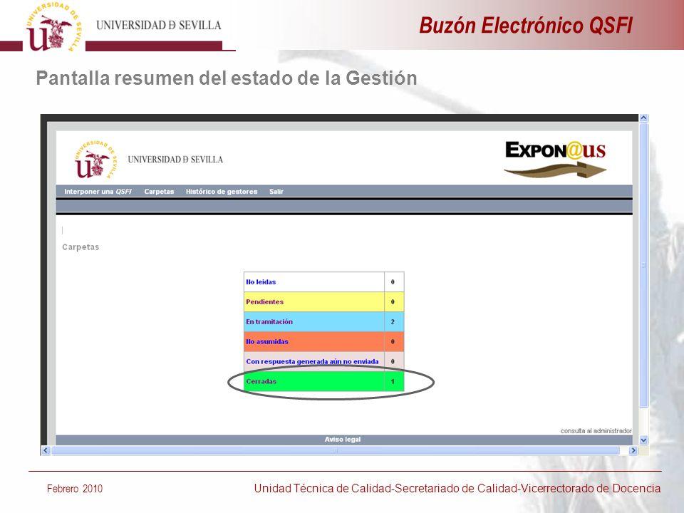 Buzón Electrónico QSFI Pantalla resumen del estado de la Gestión Febrero 2010 Unidad Técnica de Calidad-Secretariado de Calidad-Vicerrectorado de Doce