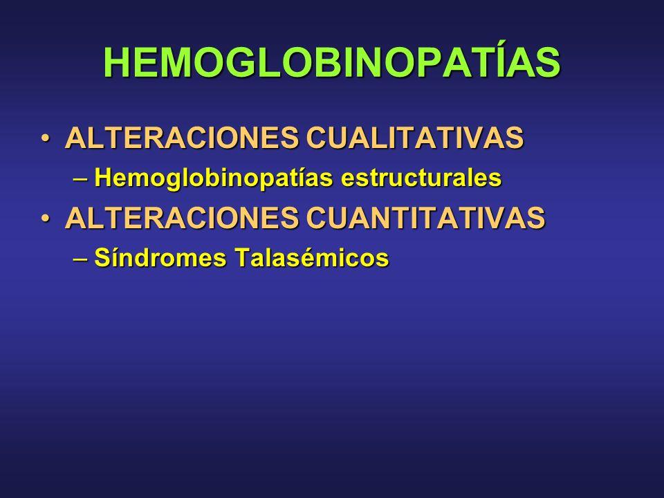 HEMOGLOBINOPATÍAS ALTERACIONES CUALITATIVASALTERACIONES CUALITATIVAS –Hemoglobinopatías estructurales ALTERACIONES CUANTITATIVASALTERACIONES CUANTITAT